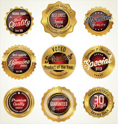 Golden premium quality labels vector