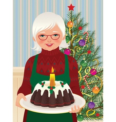 Grandmother and christmas cake vector