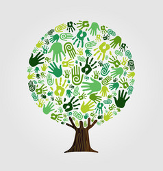 Green hand print tree for nature concept vector