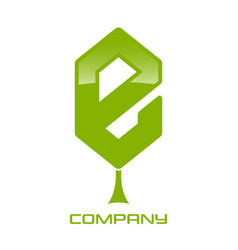 green leaf and letter e logo vector image