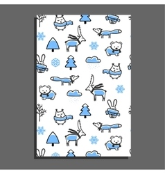 Greeting card with winter pattern vector image