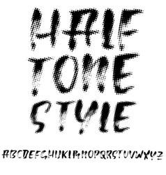 grunge font halftone style alphabet vector image
