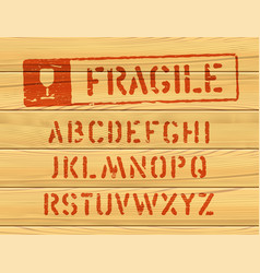 grunge style bold font for parcel shipping vector image
