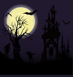 Halloween party castle creepy tree and a full vector