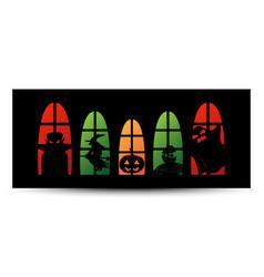 halloween window silhouette banner vector image