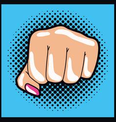 Hand human expressing power fist pop art vector