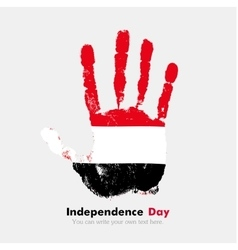 Handprint with the Flag of Yemen in grunge style vector