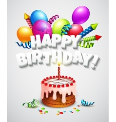 Happy birthday greeting card with cake and vector