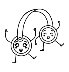 Headset audio device kawaii character vector