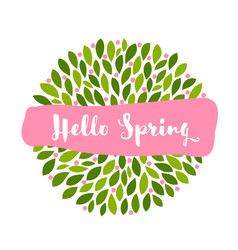 hello spring lettering on pink banner and flowers vector image
