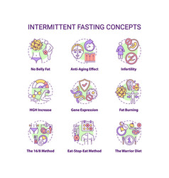 Intermittent fasting concept icons set vector