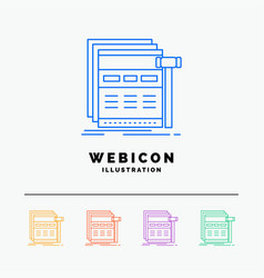 Internet page web webpage wireframe 5 color line vector