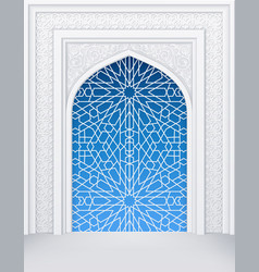 islamic design white arch with ornate doors vector image