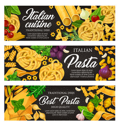 Italian food with pasta herb and spice vector
