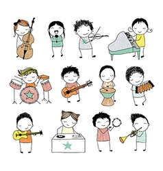 Kids playing musical instruments or singing vector
