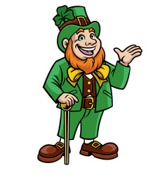 leprechaun waving hand vector image
