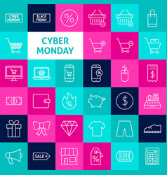 Line cyber monday icons vector