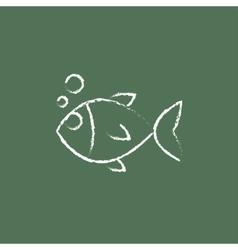 Little fish under water icon drawn in chalk vector
