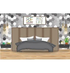 Loft Style Interior Design Bed vector