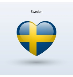 Love Sweden symbol Heart flag icon vector image
