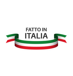 Made in italy colored ribbon with italian tricolor vector