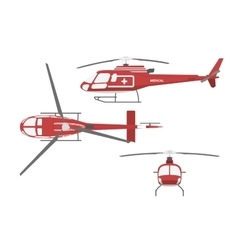 Medical helicopter in flat style vector