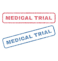 Medical trial textile stamps vector