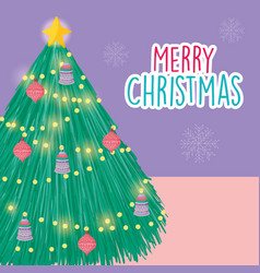 merry christmas celebration bright tree lights vector image