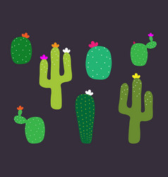 Mexican cactus flower collection cactus pattern vector