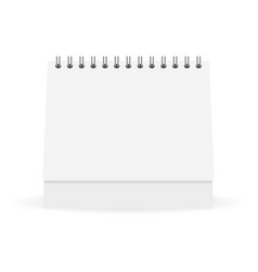 Mock up white paper calendar stands on a table vector