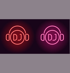 Neon dj sign in red and pink color vector