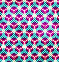 neon grid seamless pattern with grunge effect vector image