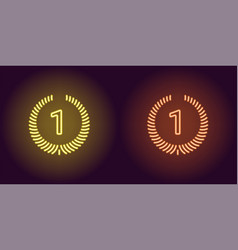 Neon icon of yellow and orange first place vector