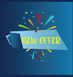 new offer isolated on blue background realistic vector image
