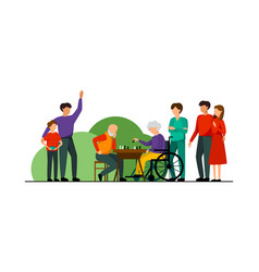 Nursing home characters flat composition vector