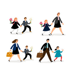 people go to school vector image