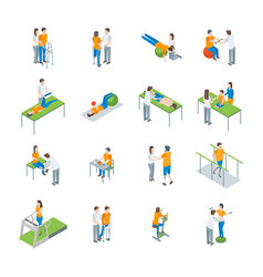 physiotherapy people 3d icons set isometric view vector image