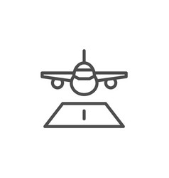 plane landing line icon vector image