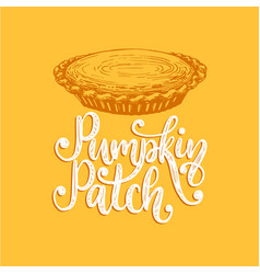 pumpkin patch hand lettering on yellow background vector image