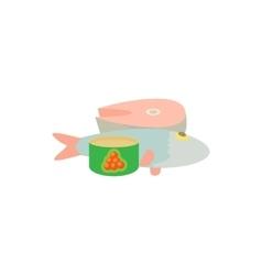Raw fish and caviar icon cartoon style vector image