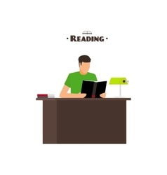Reading books flat style concept vector