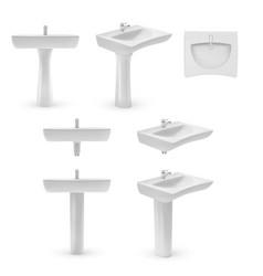 realistic white ceramic washbasin sink icon set vector image