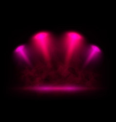 Red and pink spotlights on scene with light vector
