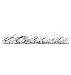 Rough and sketchy cartoon long horizontal city vector