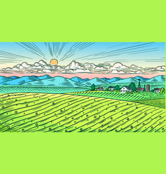 rural meadow a village landscape with hills vector image