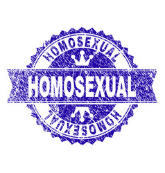 Scratched textured homosexual stamp seal with vector