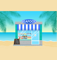 Seafood store in flat style vector