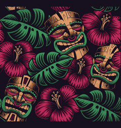 seamless color pattern with a tiki mask vector image