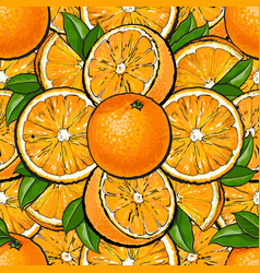 seamless pattern orange fruit with leaves in vector image