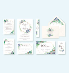 set greenery wedding invitation card rsvp vector image